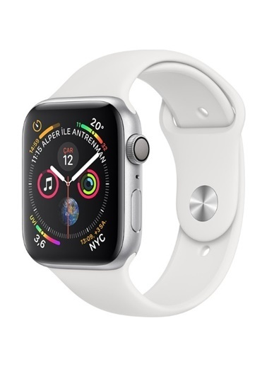 Apple Seri 4 44mm GPS Gümüş Rengi Alüminyum Kasa ve Beyaz Spor Kordon (MU6A2TU/A) Renkli